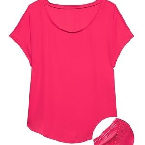 Bright Pink Solid Picot-Trim Top